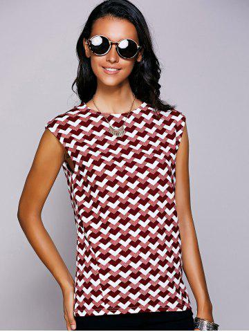Online Casual Round Neck Geometric Top For Women - S RED Mobile