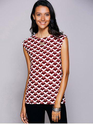 Casual Round Neck Geometric Top For Women - Red - S
