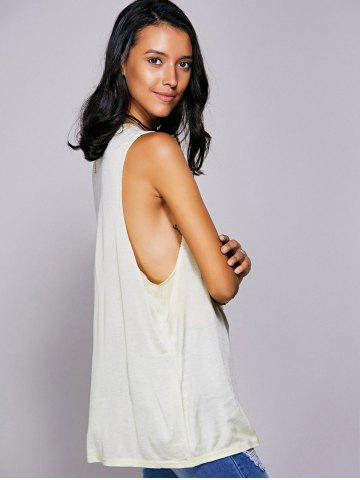 Affordable Rhinestone Drop Armhole Long Tank Top - L BEIGE Mobile