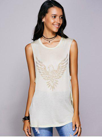 Affordable Rhinestone Drop Armhole Long Tank Top - M BEIGE Mobile