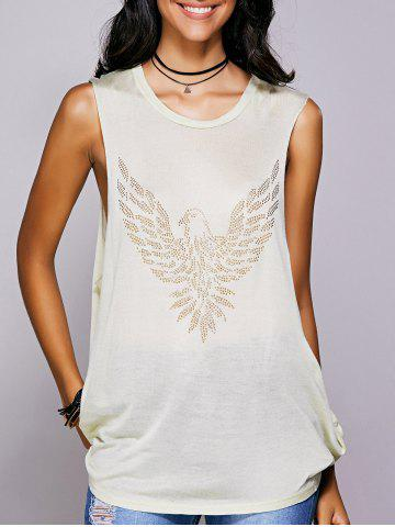 Discount Rhinestone Drop Armhole Long Tank Top - M BEIGE Mobile