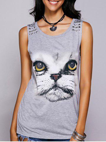 Store Casual Scoop Neck Printed Studded Tee For Women GRAY M