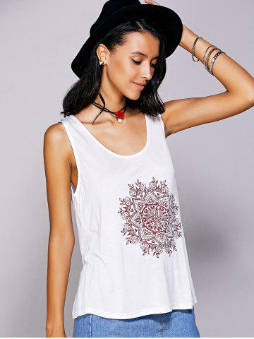 Fancy Casual  Scoop Neck Printed Tank Top For Women - S WHITE Mobile