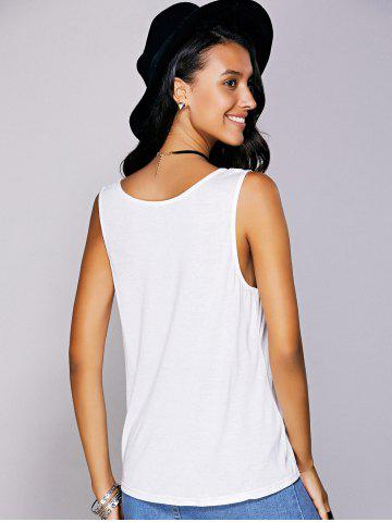 Affordable Casual  Scoop Neck Printed Tank Top For Women - S WHITE Mobile