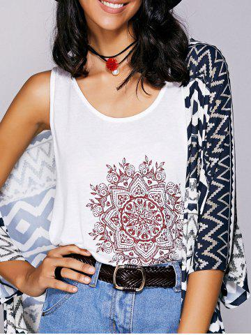 Latest Casual  Scoop Neck Printed Tank Top For Women - S WHITE Mobile