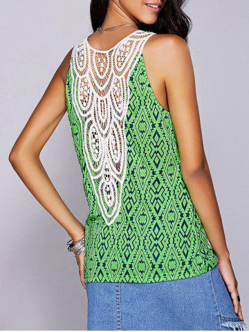 Affordable Casual Scoop Neck Geo Crochet Tank Top For Women GREEN L