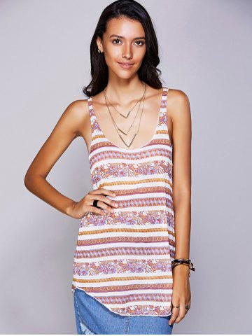 Outfit Casual U-Neck Ethnic Print Racerback Top For Women - M YELLOW Mobile