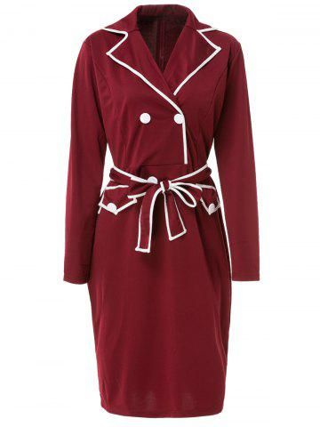 Cheap Color Block Belted Long Sleeve Business Dress