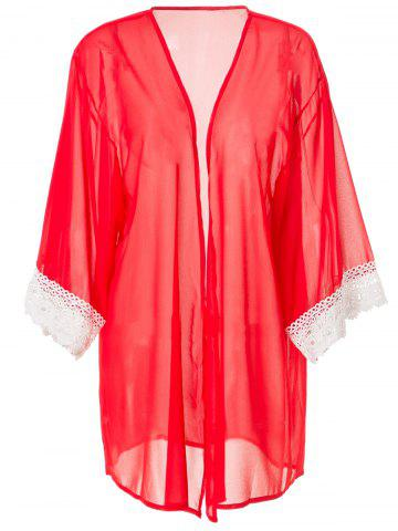 Stylish Collarless 3/4 Sleeve Loose-Fitting Laciness Women's Kimono Blouse - RED L