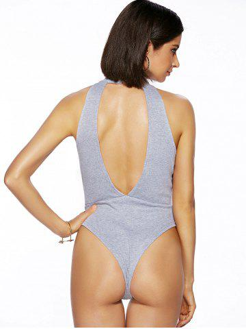 Buy Alluring Round Neck Solid Color Cut Out One Piece Swimwear For Women - M LIGHT GRAY Mobile