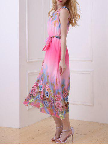 Chic Casual Floral Chiffon Swing Midi Dress - ONE SIZE(FIT SIZE XS TO M) ROSE Mobile