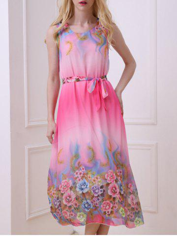Buy Casual Floral Chiffon Swing Midi Dress - ONE SIZE(FIT SIZE XS TO M) ROSE Mobile