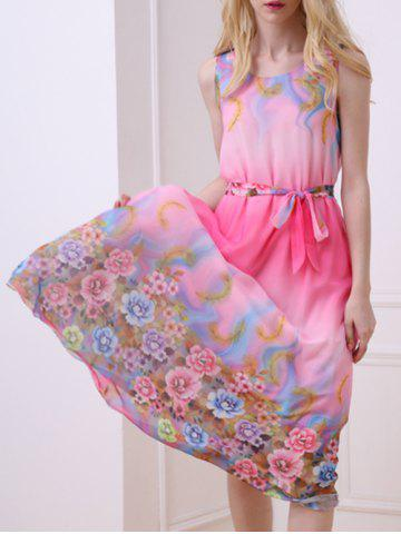 Hot Casual Floral Chiffon Swing Midi Dress - ONE SIZE(FIT SIZE XS TO M) ROSE Mobile