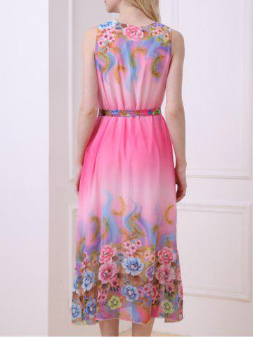 Discount Casual Floral Chiffon Swing Midi Dress - ONE SIZE(FIT SIZE XS TO M) ROSE Mobile