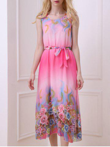 Trendy Casual Floral Chiffon Swing Midi Dress - ONE SIZE(FIT SIZE XS TO M) ROSE Mobile