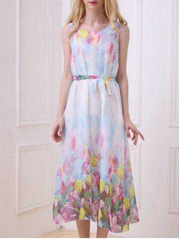 Buy Bohemian Floral Print Chiffon Dress - ONE SIZE(FIT SIZE XS TO M) LIGHT BLUE Mobile
