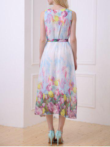 Affordable Bohemian Floral Print Chiffon Dress - ONE SIZE(FIT SIZE XS TO M) LIGHT BLUE Mobile