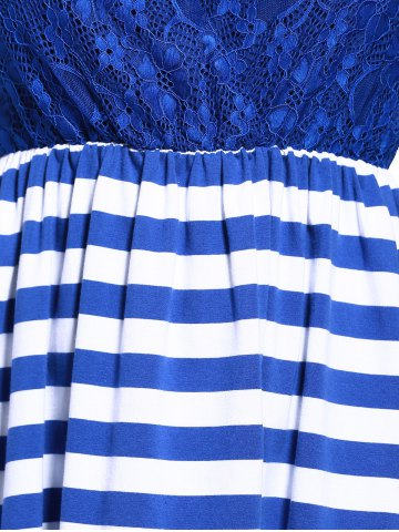 Outfits Sweet Sleeveless Lace Spliced Cut Out Striped Dress For Women - L PURPLISH BLUE Mobile