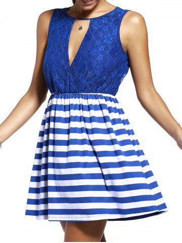 Store Sweet Sleeveless Lace Spliced Cut Out Striped Dress For Women - L PURPLISH BLUE Mobile