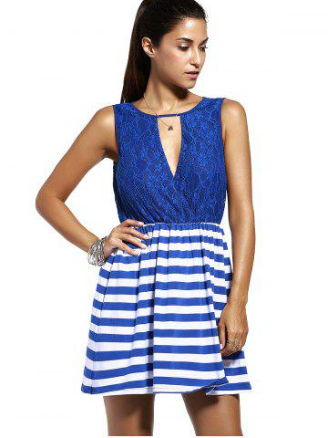 Unique Sweet Sleeveless Lace Spliced Cut Out Striped Dress For Women - M PURPLISH BLUE Mobile