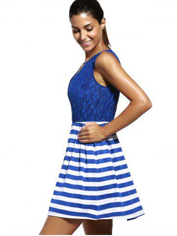 Latest Sweet Sleeveless Lace Spliced Cut Out Striped Dress For Women - M PURPLISH BLUE Mobile