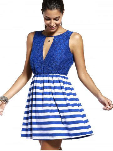 Best Sweet Sleeveless Lace Spliced Cut Out Striped Dress For Women - M PURPLISH BLUE Mobile