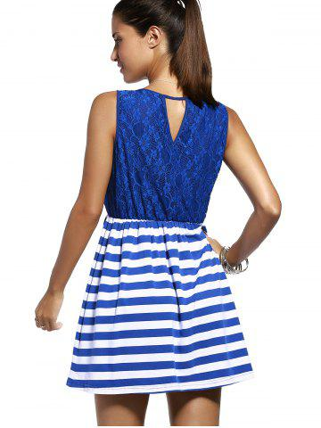 Outfits Sweet Sleeveless Lace Spliced Cut Out Striped Dress For Women - M PURPLISH BLUE Mobile