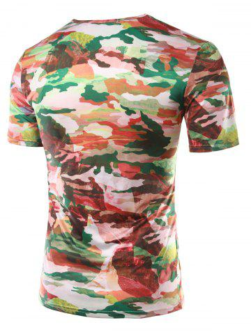 Unique Slimming Printed Round Collar Short Sleeves T-Shirts For Men - L COLORMIX Mobile