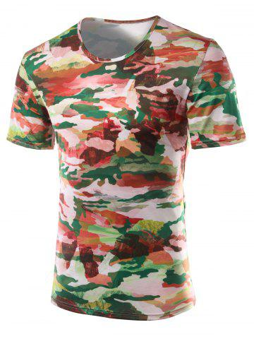 Unique Slimming Printed Round Collar Short Sleeves T-Shirts For Men - M COLORMIX Mobile