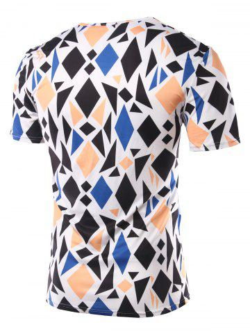 Chic Slimming Geometric Figure Printed Round Collar Short Sleeves T-Shirts For Men - L COLORMIX Mobile