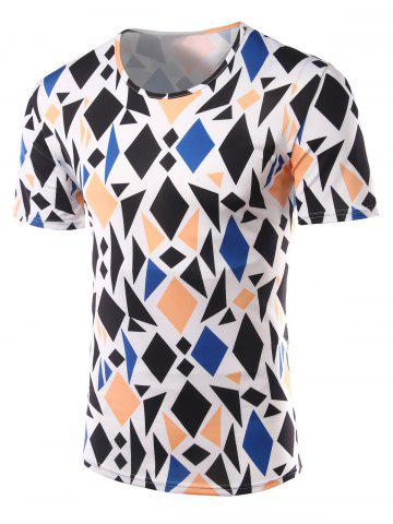 Sale Slimming Geometric Figure Printed Round Collar Short Sleeves T-Shirts For Men - L COLORMIX Mobile