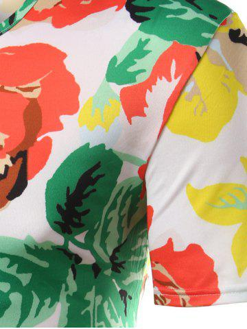 Fashion Slimming Flower Printed Round Collar Hawaiian T-shirt - 2XL COLORMIX Mobile