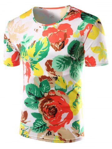 Discount Slimming Flower Printed Round Collar Hawaiian T-shirt - 2XL COLORMIX Mobile