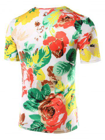 Buy Slimming Flower Printed Round Collar Hawaiian T-shirt - 2XL COLORMIX Mobile
