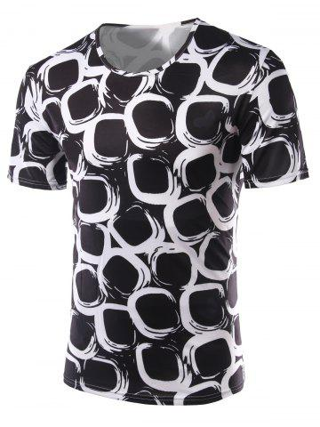 Cheap Slimming Printing Round Collar Short Sleeves T-Shirts For Men BLACK 2XL