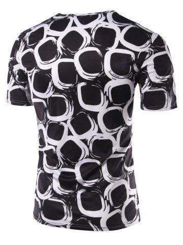 Discount Slimming Printing Round Collar Short Sleeves T-Shirts For Men - L BLACK Mobile
