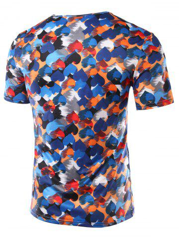 Latest Slimming Heart Printing Round Collar Short Sleeves T-Shirts For Men - XL COLORFUL Mobile