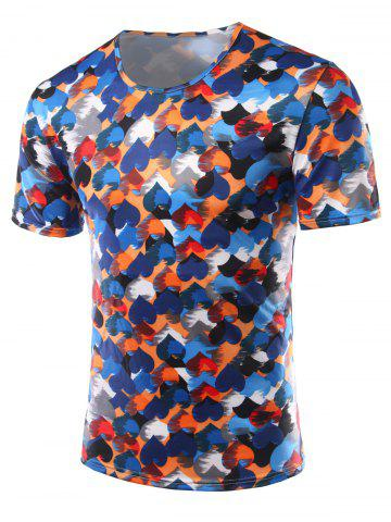 Chic Slimming Heart Printing Round Collar Short Sleeves T-Shirts For Men - XL COLORFUL Mobile