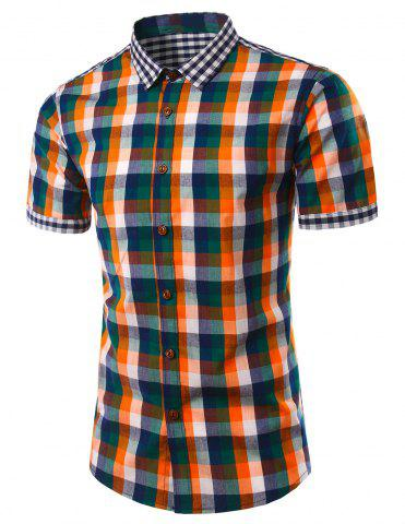 Best Slimming Turn Down Collar Plaid Short Sleeves Shirts For Men JACINTH 3XL