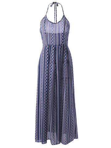 Hot Ethnic Halter Backless Long Swing Dress - L PURPLISH BLUE Mobile