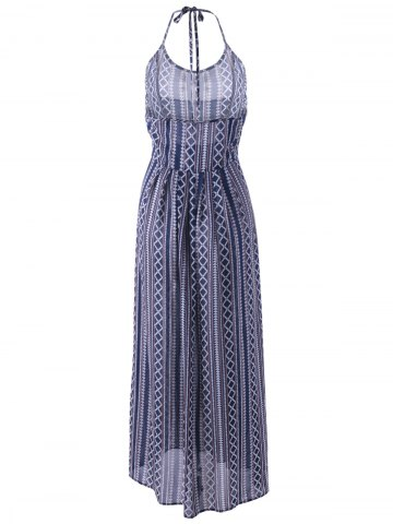 Fashion Ethnic Halter Backless Long Swing Dress - L PURPLISH BLUE Mobile