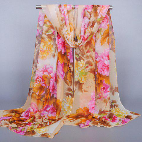 Trendy Chic Exuberant Peonies and Leaves Pattern Shawl Wrap Chiffon Scarf For Women