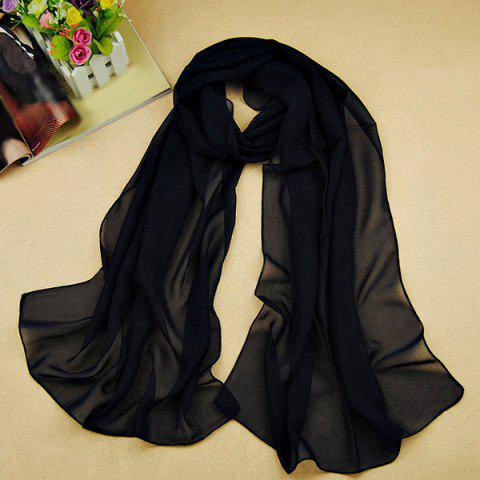 Store Chic High Quality Solid Color Chiffon Scarf For Women PURPLISH BLUE