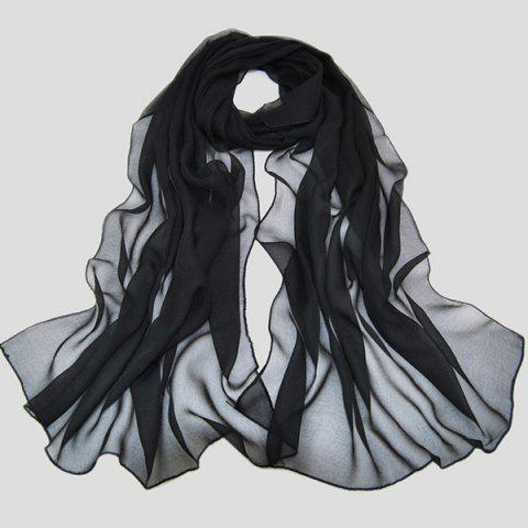 Buy Chic Solid Color Chiffon Scarf Women - Black