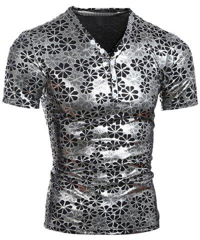 Fancy Pullover Short Sleeves Flower Printing T-Shirt For Men SILVER L
