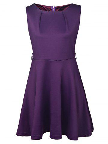 Trendy Graceful Round Collar Sleeveless Pure Color Women's Dress