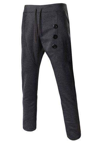 Best Lace-Up Buttons Embellished Narrow Feet Pants For Men