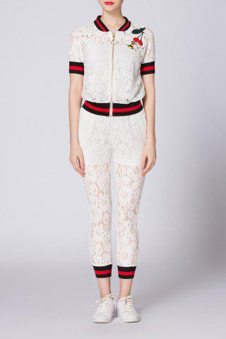 Hot Zippered Hit Color T-Shirt and Lace Narrow Feet Pants