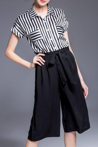 Store Striped T-Shirt and Drawstring Black Pants Suit