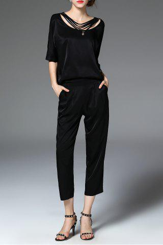Discount Black T-Shirt and Disassembled Zippered Pants Suit